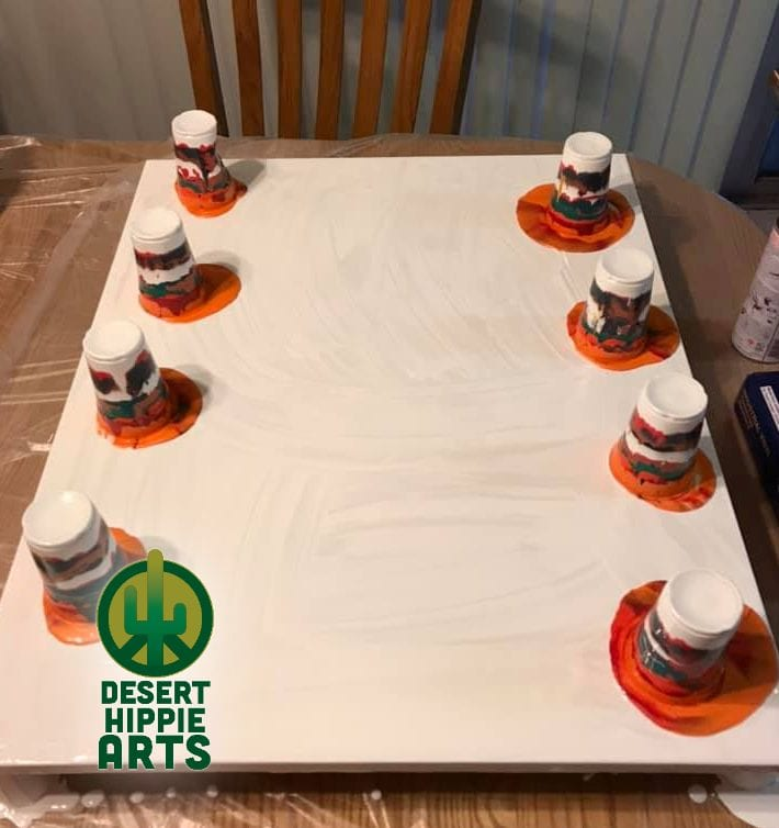 Desert Hippie Arts Big Red Acrylic Paint Pouring 2