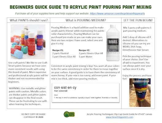 Desert Hippie Arts Beginners Quick Guide To Acrylc Paint Pouring 528x400