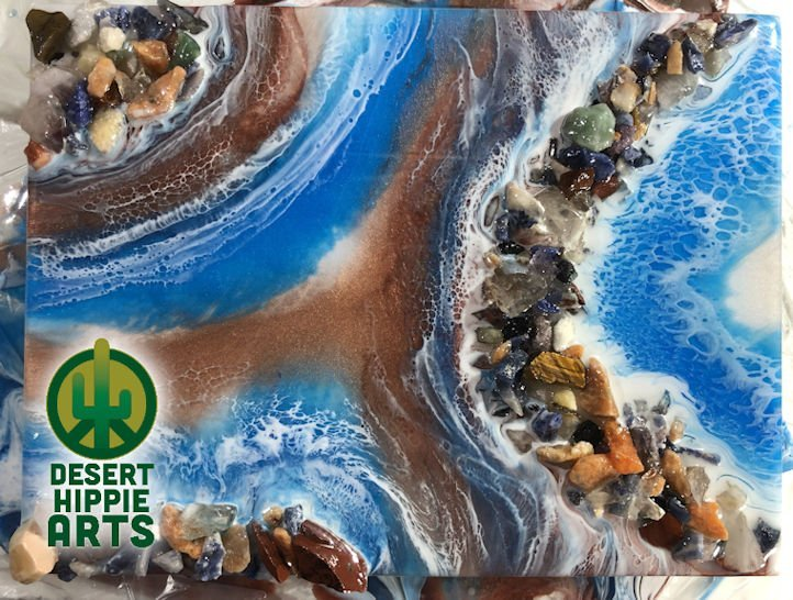 Desert Hippie Arts Rocky Waters Resin Art 1