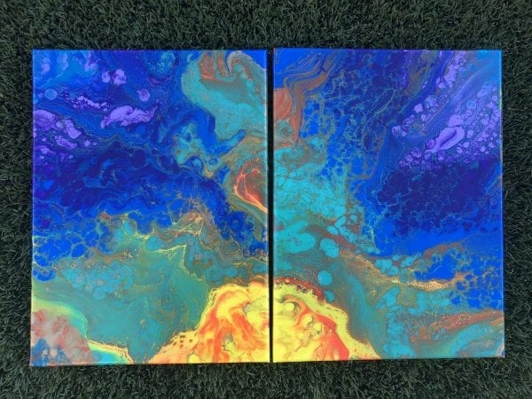 Here Comes Sunshine Acrylic Pour Painting