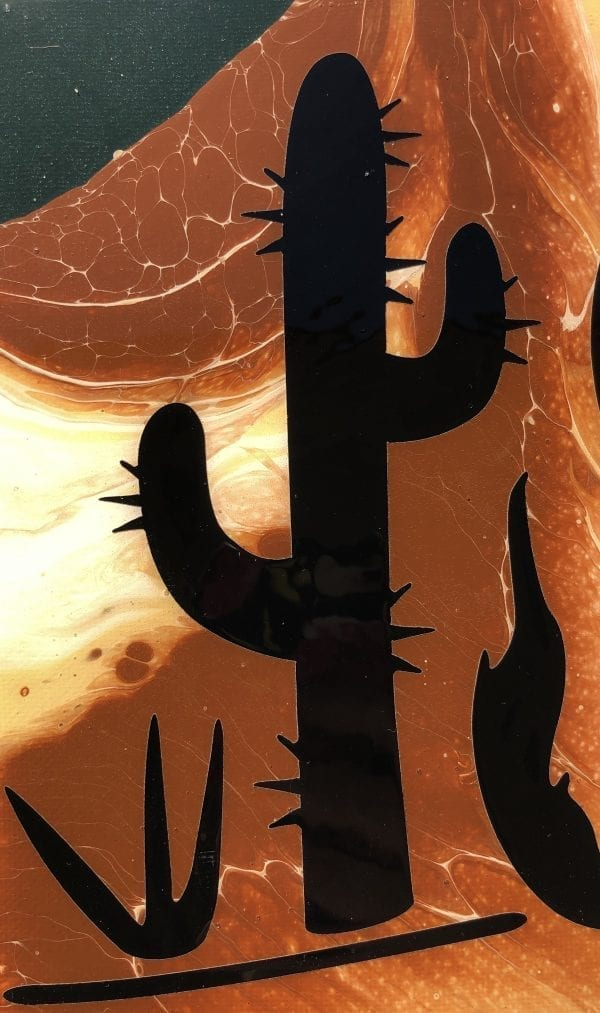 """Coyote Cactus"" acrylic pour painting Desert Hippie Arts 1"