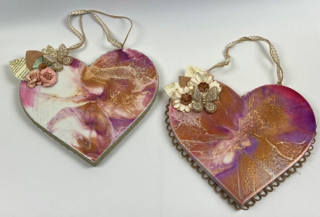 Wood Heart Bloom Pour Inspired by Sheelee Art Technique