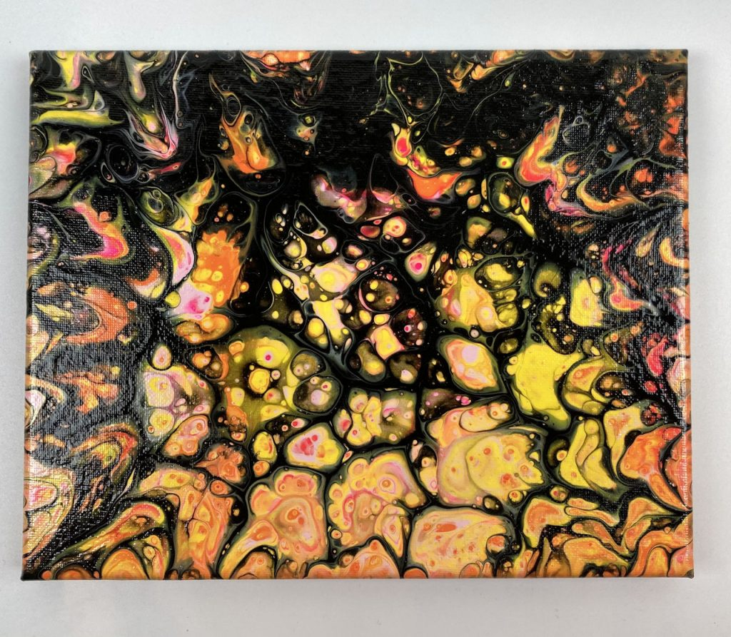 Goldenrod acrylic pour painting SWIPE